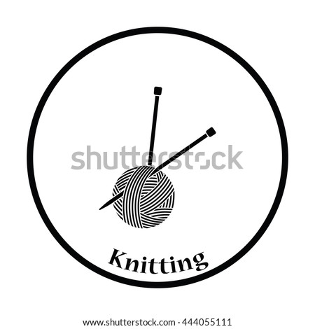 Yarn ball with knitting needles icon. Thin circle design. Vector illustration.