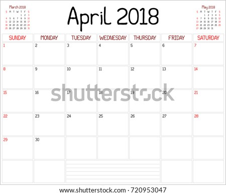 Year 2018 April Planner Monthly Planner Stock Vector ...