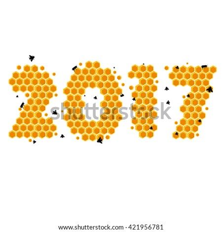Year 2017 background - Honeycomb background - happy new year  - stock vector