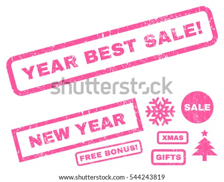 Year Best Sale! rubber seal stamp watermark with additional banners for Christmas and New Year offers. Caption inside rectangular banner with grunge design and dirty texture. Vector pink stickers.