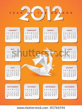 Year 2012 calendar - stock vector