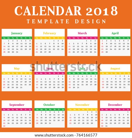 Year 2018 Calendar Simple Clean Template Stock Vector 764166577