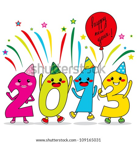 Year 2013 cartoon characters celebrating happy new year party - stock vector