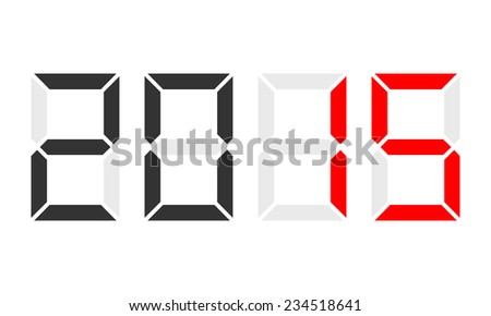 year 2015 - digital clock display, red marked - stock vector