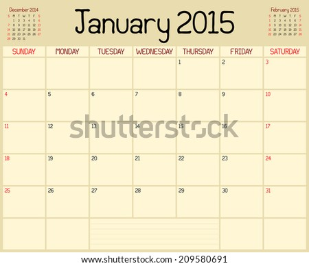 Year 2015 January Planner Monthly Planner Stock Vector 209580691