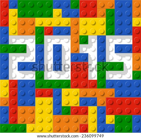 Year 2015 made from plastic construction blocks, vector illustration - stock vector
