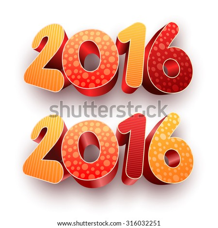 Year 2016! New year design template. All elements are layered separately in vector file. Easy editable. - stock vector