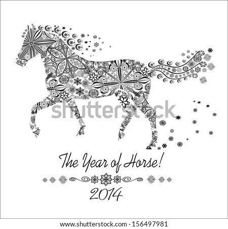 Year of horse. Happy new year 2014!  - stock vector