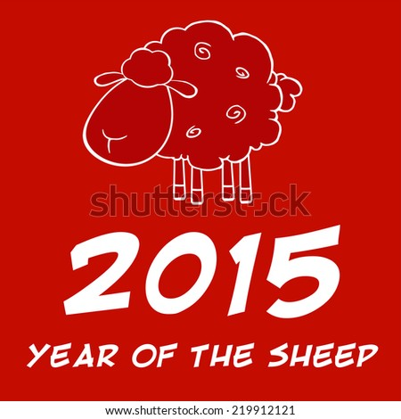 Year Of Sheep 2015 Design Card. Vector Illustration