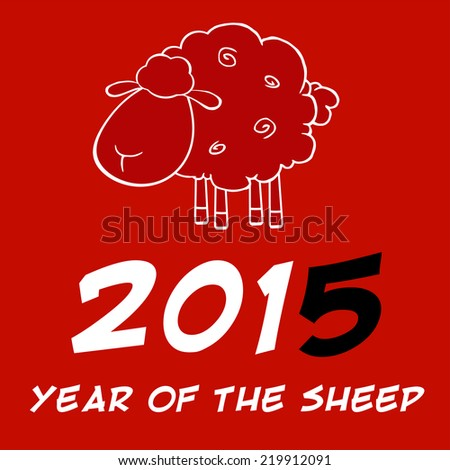 Year Of Sheep 2015 Design Card With Black Number. Vector Illustration