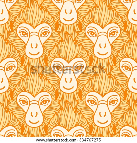 Year of the fire or red monkey 2016 seamless vector pattern. Chinese zodiac symbol. Repeating monkey heads with fire looking hair. New Year background. Yellow and orange colors. - stock vector