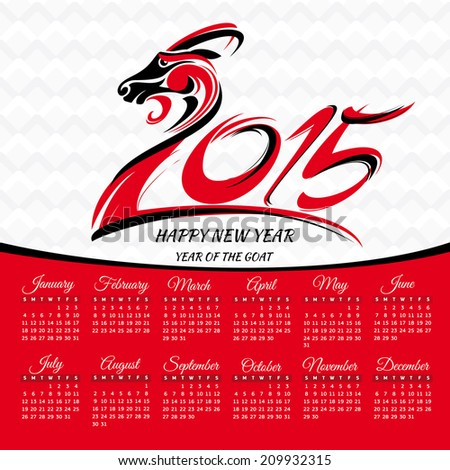 Year of the goat 2015 calendar vector illustration - stock vector