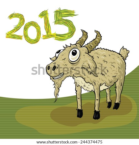 Year of the goat with herbal 2015 - stock vector