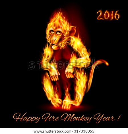 Year Of The Red Fire Monkey. Greeting Card on black background - stock vector