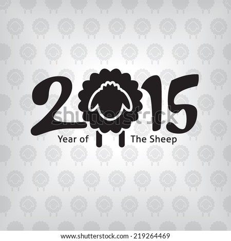 Year of the sheep with background texture, 2015 new year high quality vector eps10