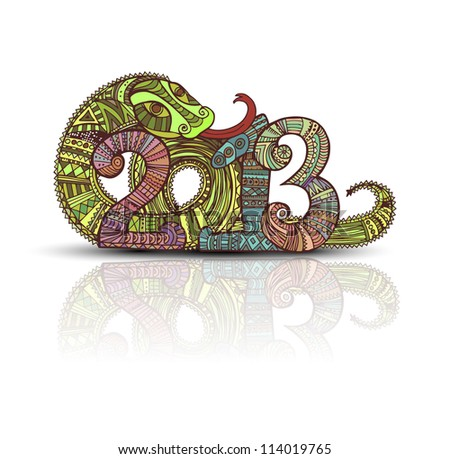 Year of the snake design in the style of Mayan - stock vector