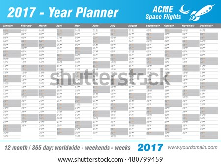 Year Planner Calendar 2017 - International worldwide printable organizer planner scheduler - with dates, days of the month - space for personal notes. Week starts Monday. Blue, ice, vector