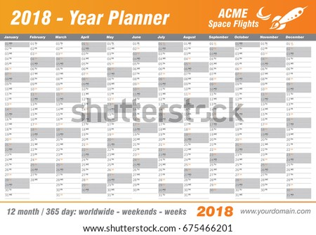 Year Planner Calendar 2018 Vector Annual Stock Vector 675466201 ...