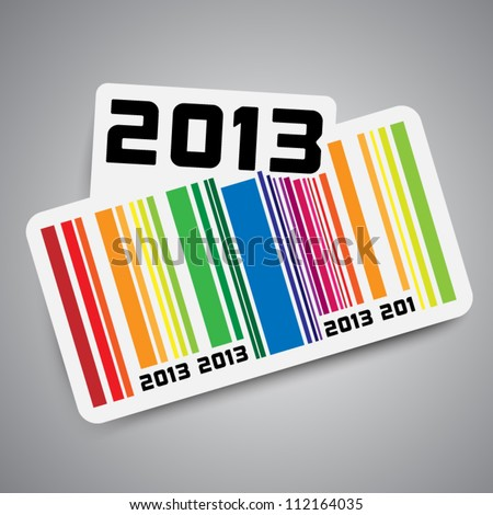 Year 2013 sticker with color bar code - stock vector