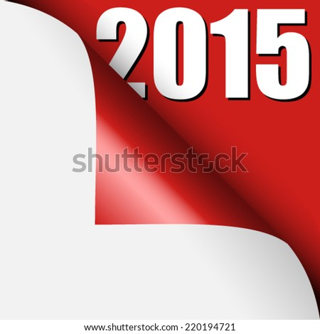 Year 2015 under curled corner - stock vector