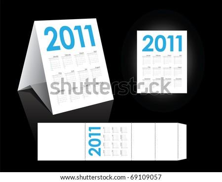 Yearly calendar in editable vector format - stock vector