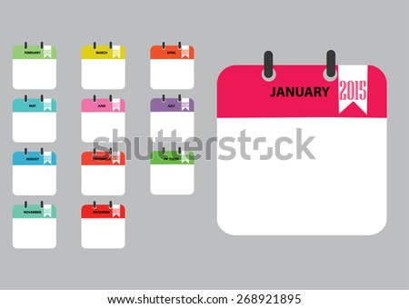 Yearly  paper note. Vector illustration