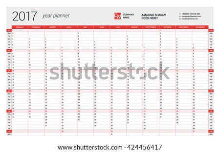 Yearly Wall Calendar Planner Template 2017 Stock Vector Hd Royalty