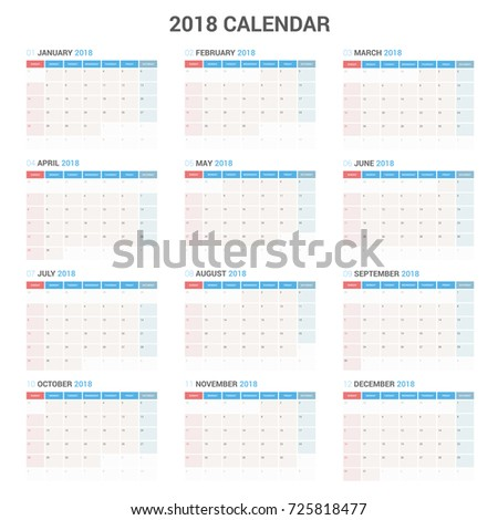 Yearly Wall Calendar Planner Template 2018 Stock Vector Hd Royalty