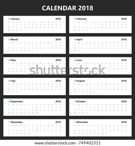 Yearly Wall Calendar Planner Template 2018 Stock Photo Photo
