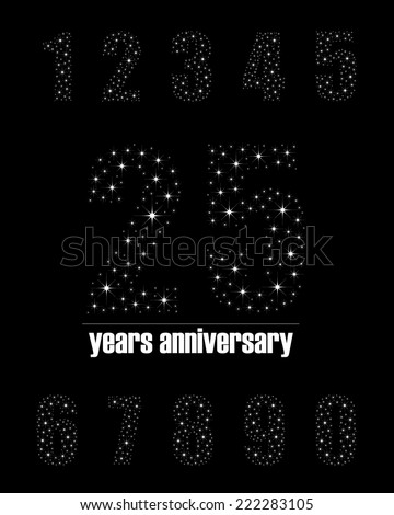 Years anniversary collection in bright stars number design - complete number set - stock vector