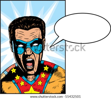 Yelling Superhero yelling something.  Anything can be put in Balloon. - stock vector