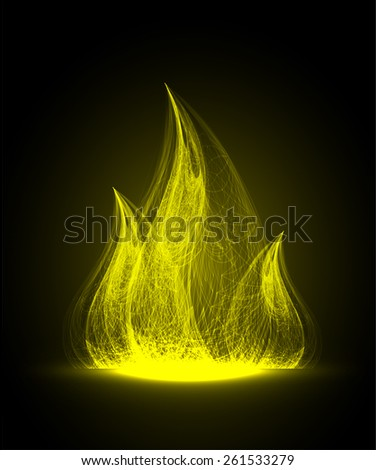 Yellow Abstract fire flames on a black background. Colorful vector illustration - stock vector
