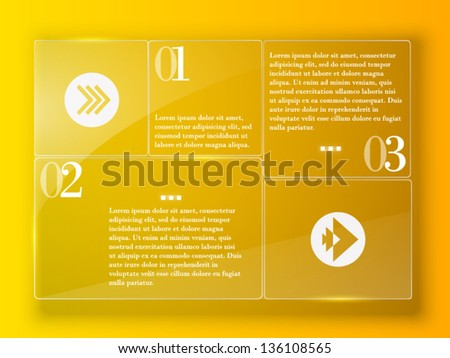Yellow abstract template with glass panel