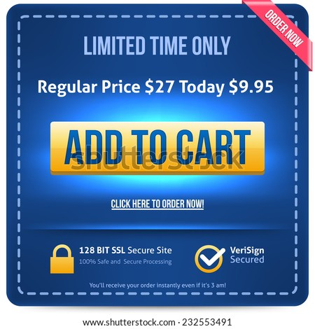 Yellow Add To Cart button with blue text. Vector illustration. - stock vector