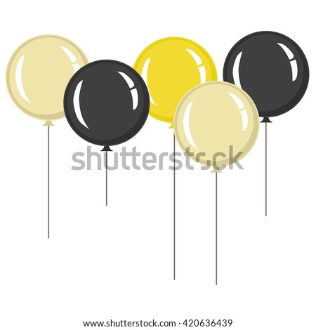Yellow and black color balloons. Vector Illustration. Party background - stock vector