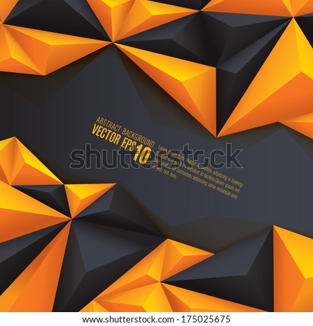 Yellow and black geometrical background. polygonal background for card design, page design, leaflet, brochure, flyer or magazine page design.  - stock vector