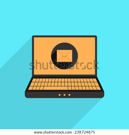 yellow and black laptop with mail icon and long shadow. isolated on blue background. flat style trendy modern design vector illustration - stock vector