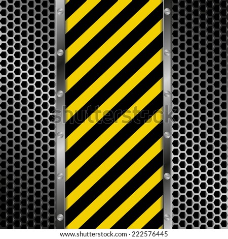 yellow and black stripes with grate texture - stock vector