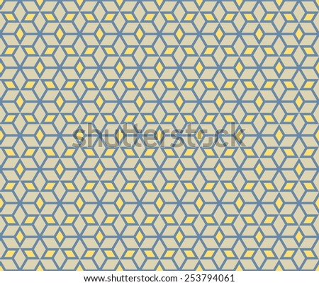 Yellow and blue color mosaic star seamless pattern background vector.Repeating geometric shapes with rhombus.