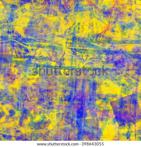 Yellow and blue. Grunge template. The spots, wavy lines and scratches. Rough texture. Seamless vector pattern. Abstract background. Easy editing. - stock vector