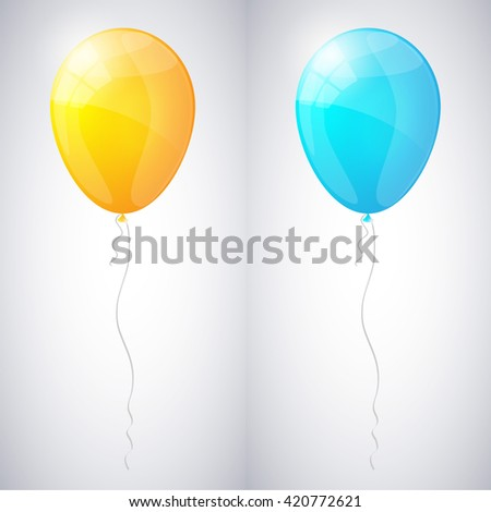Yellow and blue shiny glossy balloons. Vector illustration. - stock vector