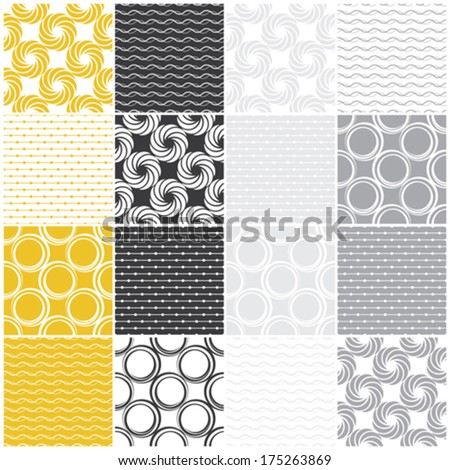 yellow and gray geometric seamless patterns with dots, circles and waves, vector illustration - stock vector