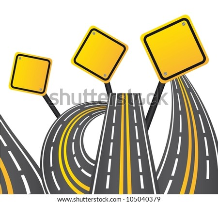 yellow and gray road sign over white background. vector - stock vector
