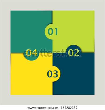yellow and green colored puzzle infographic with numbers one, two, three and four - stock vector