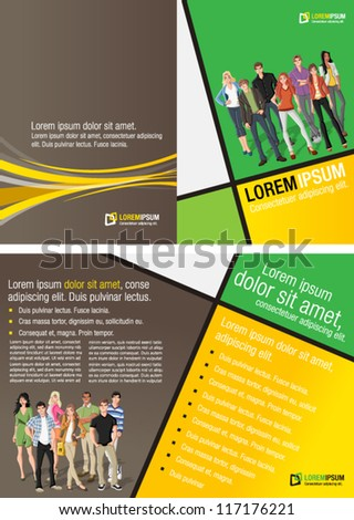 Yellow and green template for advertising brochure with a group of fashion cartoon young people.  Teenagers.
