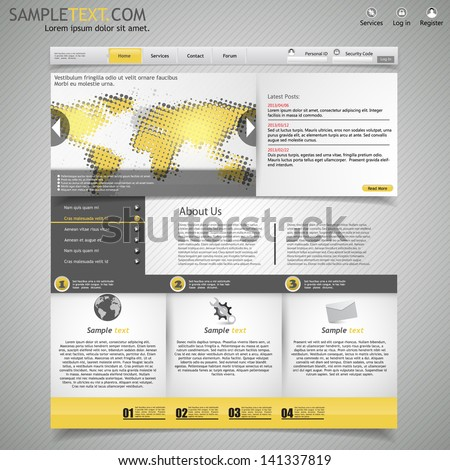 yellow and grey business website template - with halftone map  - stock vector