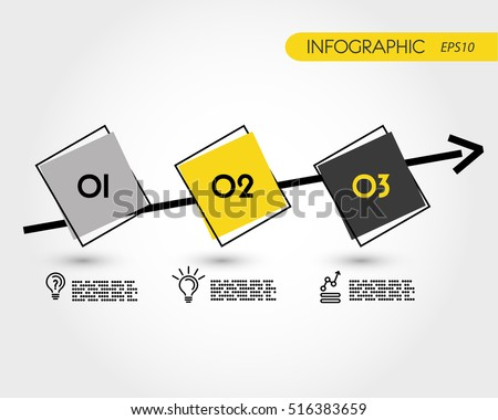 yellow and grey timeline with squares, infographic concept
