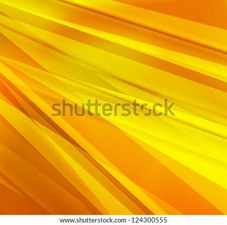 Yellow and orange lines abstract vector background - stock vector