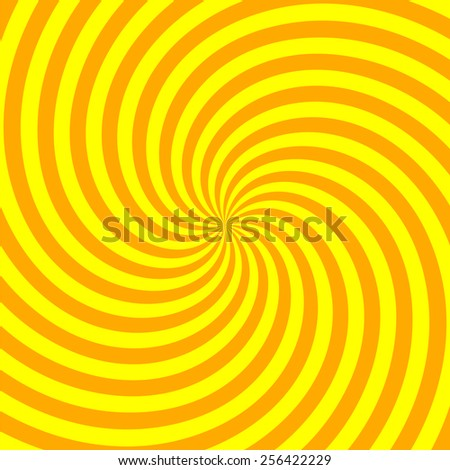 yellow and orange spiral rays background - stock vector