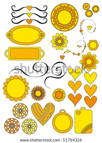 Yellow and orange vector flowers, hearts, curls and tags